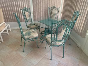Iron glass top dining set for Sale in Delray Beach, FL