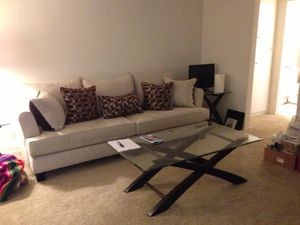 Sofa, Coffee table and two glass end tables. for Sale in San Diego, CA