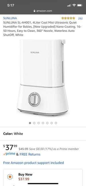 SUNLUNA SL-AH001, 4Liter Cool Mist Ultrasonic Quiet Humidifier for Babies, [New Upgraded] Nano-Coating, 16-50 Hours, Easy to Clean, 360° Nozzle, Wate for Sale in Queens, NY