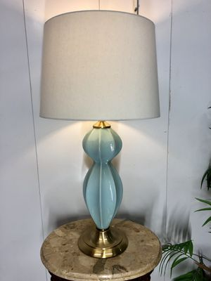 "Brass & Light Aqua Hour Glass Table Lamp with Shade Height-31"" Item#230 for Sale in Boynton Beach, FL"