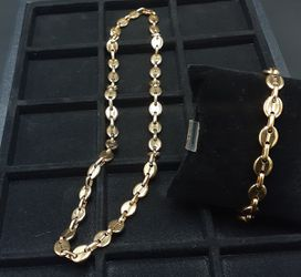 14k gold plated G-puff link chain and bracelet...... for Sale in Hollywood,  FL