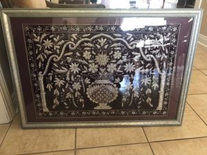 Framed Indian art burgundy an silver for Sale in Alexandria, LA