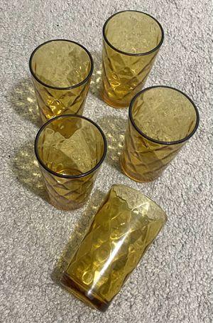 "Vintage Mid Century Modern MCM Set Of 5 Gold Amber Diamond Optic Coin Dot Continental Can Hazel Atlas ""El Dorado"" Juice Cocktail Drink Tumbler Glasses for Sale in Chapel Hill, NC"