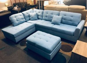 Brand New Light Blue Linen Sectional Sofa Couch + Ottoman for Sale in Silver Spring, MD