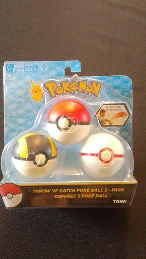 Pokemon soft foam throw 'n' catch poke'ball 3 pack for Sale in Salem, OR