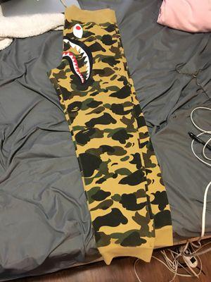 Bape tan camo shark sweat pants for Sale in Austin, TX