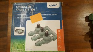 Selling BOTH : Orbit 57253 Pre-Assembled 3 Valve Sprinkler Manifold System and Irrigation Valves Outdoor Swing Panel Sprinkler System Timer for Sale in Lawrenceville, GA