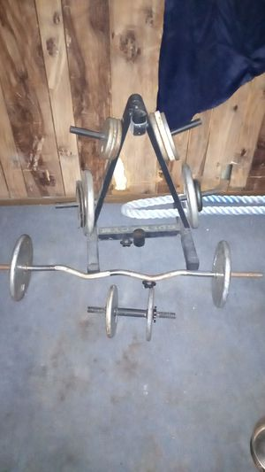 Weights ,Curling bar/ weight rack for Sale in Glendale, AZ