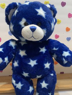 BEAR ! BLUE BEAR WITH WHITE STARS AND THE CUTEST MATCHING TENNIS SHOES! 15 INCHES ! SOFT SILKY FEEL PLUSH FROM BUILD A BEAR for Sale in Modesto,  CA