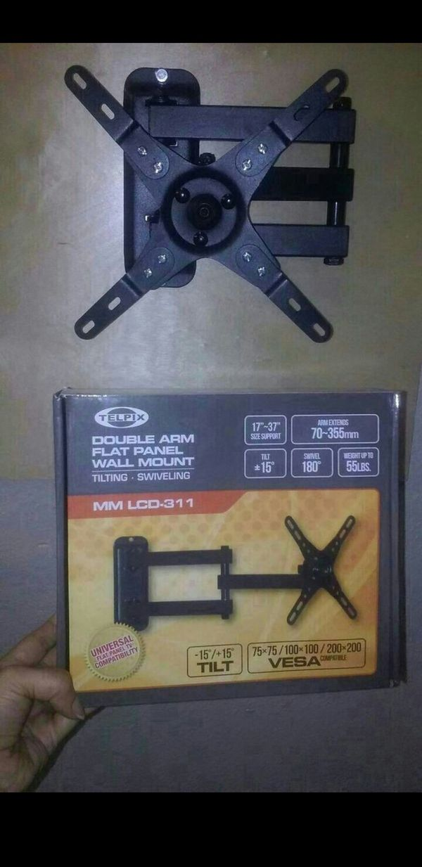 "Tv Wall Mount 17 to 37"" lcd-led tv monitor Arm extends 70 to 355mm Tilt 15°/ swivel 180° 55 lbs max load Brand New In Box"