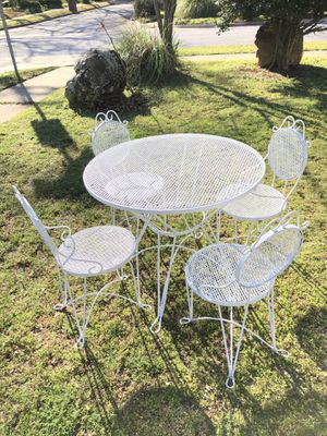Patio Furniture,Vintage Wrought Iron,Table and Chair , Matching, Set - White for Sale in Arlington, TX