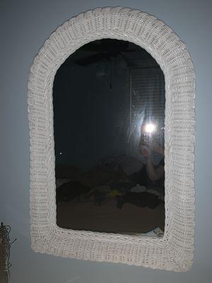 White wicker mirror for Sale in Hoboken, NJ