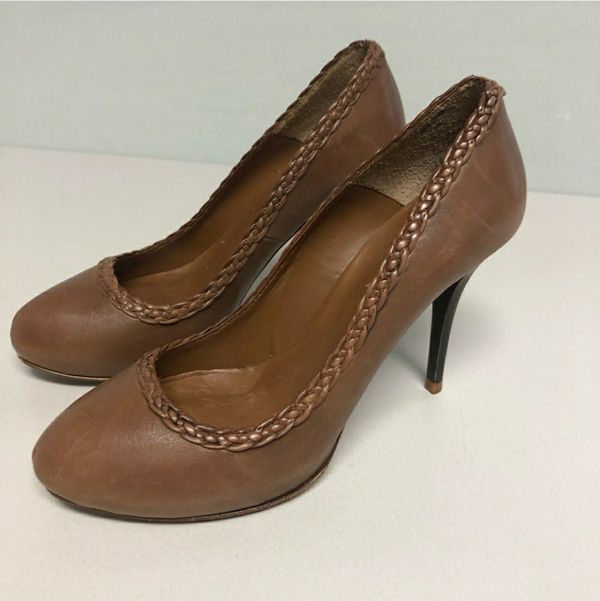 """ZARA Brown Leather braided pumps Size 9 Heel height approx 4"""" $20"""