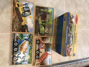 Melissa Dough 4 construction vehicles Wooden puzzle in a box like brand new for Sale in San Jose, CA