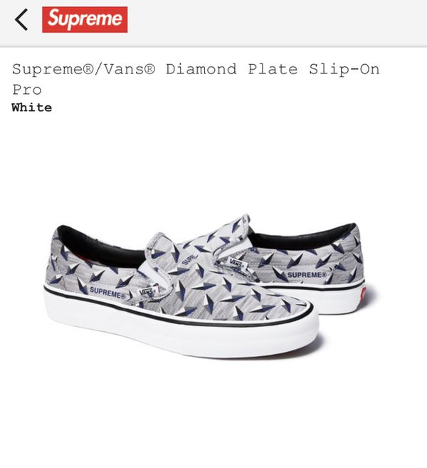 Supreme Vans diamond plate slip on shoes sz size 12