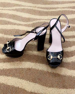 GUCCI Black Patent Leather Horsebit Claudia Platform sandals, size 37/6.5. for Sale in Houston, TX