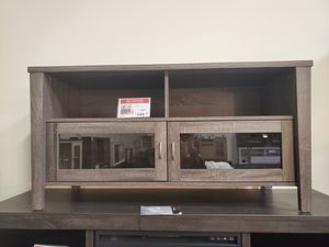 Melina 2 Glass Door TV Stand up to 55in TVs, Distressed Grey for Sale in Westminster, CA