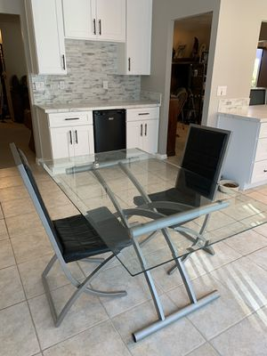 Modern glass table two chairs good condition for Sale in Spring Valley, CA