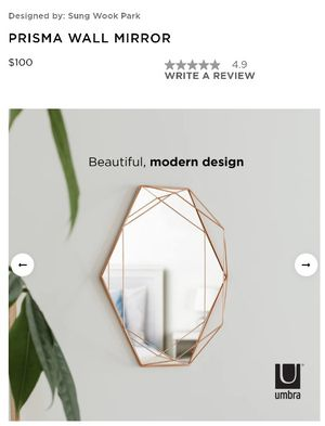 Umbra PRISMA WALL MIRROR Rose Gold for Sale in Gilbert, AZ