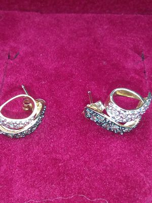 14k Gold Affinity Blue & White Diamonds Stud Earrings for Sale in Boyce, VA