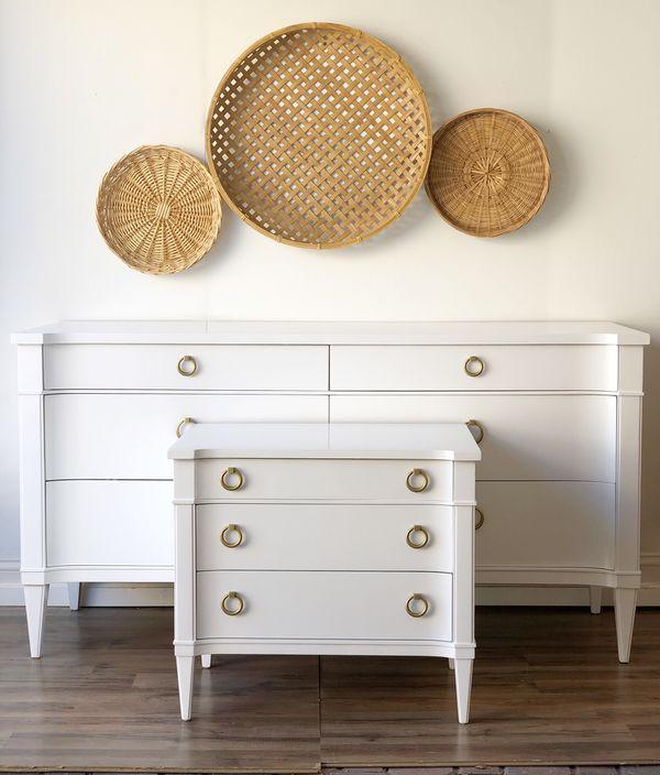 Drexel Via Veneto 6 Drawer Dresser + Nightstand Set Bedroom Credenza MCM  Mid Century Campaign ~ White + Brass ~ for Sale in Ramona, CA - OfferUp
