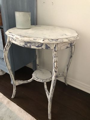Antique white/ blue side table for Sale in Santa Monica, CA