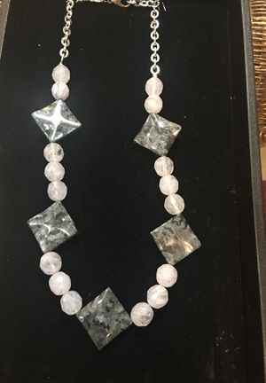 """18""""/ with 5"""" extension, 2"""" square gemstones/12mm off white moonstone gem beads for Sale in Washington, DC"""