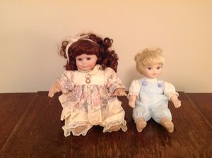 Cute set porcelain dolls for Sale in Tremont, IL