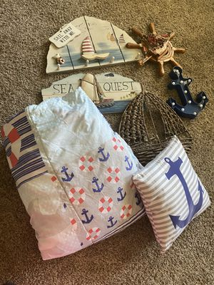 Nautical comforter set and decor beach sea themed for Sale in Surprise, AZ
