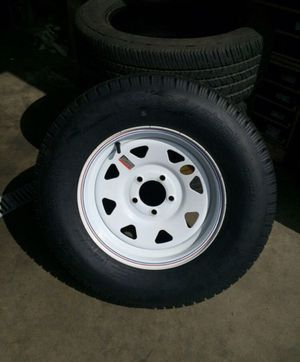 Trailer tire and wheel st205/75R15 new different sizes available for Sale in Glenwood, OR