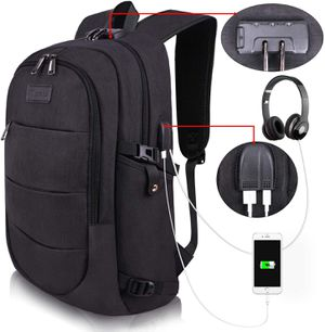 Brand New Backpack Water Resistant Anti-Theft College Bag with USB Charging Port & Lock Unisex Black Business Computer Hiking Luggage Bag for Sale in Queens, NY