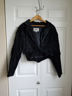 Chia 100% leather black fringe jacket for Sale in Hillsboro, OR
