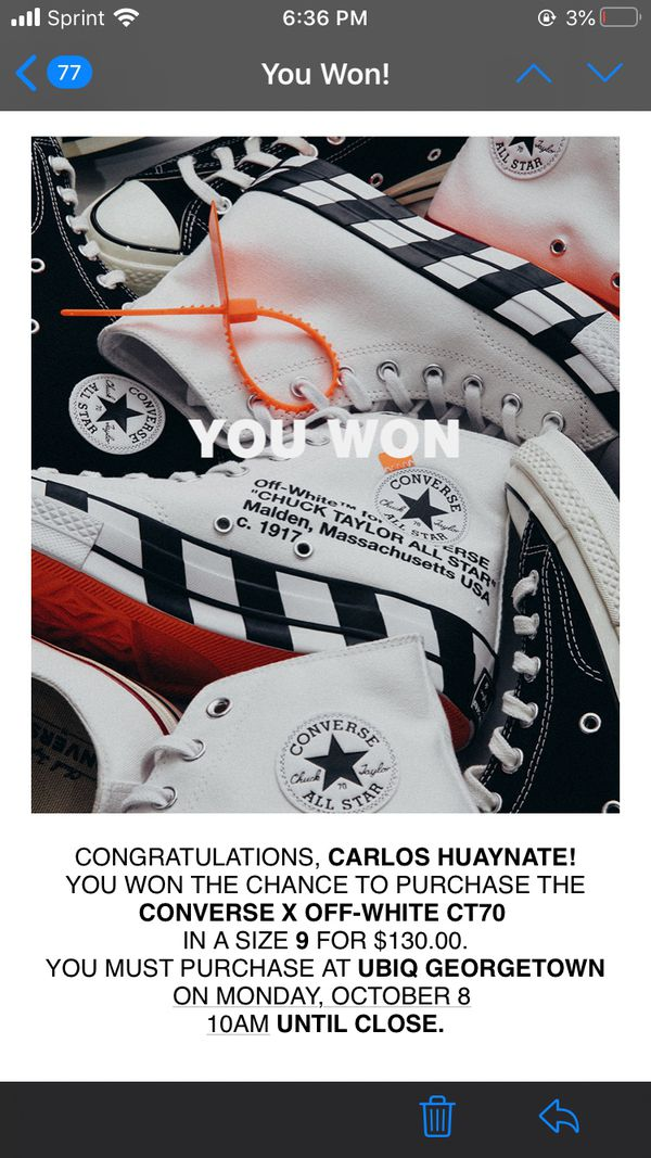 Off-White Converse 2.0 Size 9
