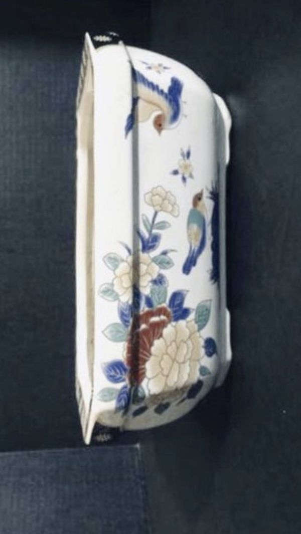 Porcelain Flower Pot With Asian Art