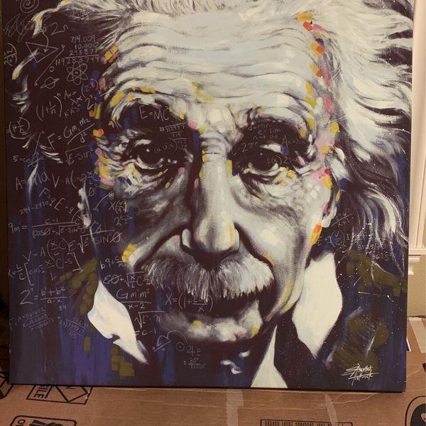 """Einstein canvas wall art 38"""" x 38"""""""