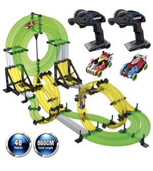 Rail Race RC Track Car Toys 860cm Build Your Own 3D Super Track Ultimate Slot Car Playset 2 Cars 2 Remote Controller Party Game Kids Friends for Sale in Irvine, CA