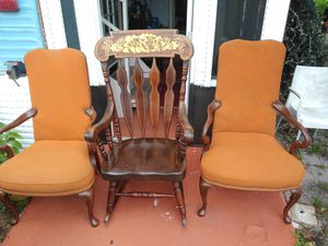 ANTIQUE WOODEN ROCKING CHAIR & TWO (2) CHAIRS for Sale in West Palm Beach, FL