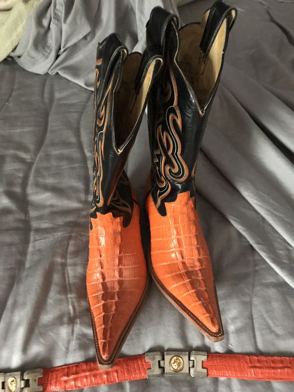 Alligator skin boots (Orange/Black) matching Versace belt (Orange)