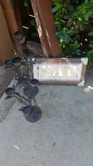 2 tall candle holders and framed picture for Sale in Pittsburg, CA
