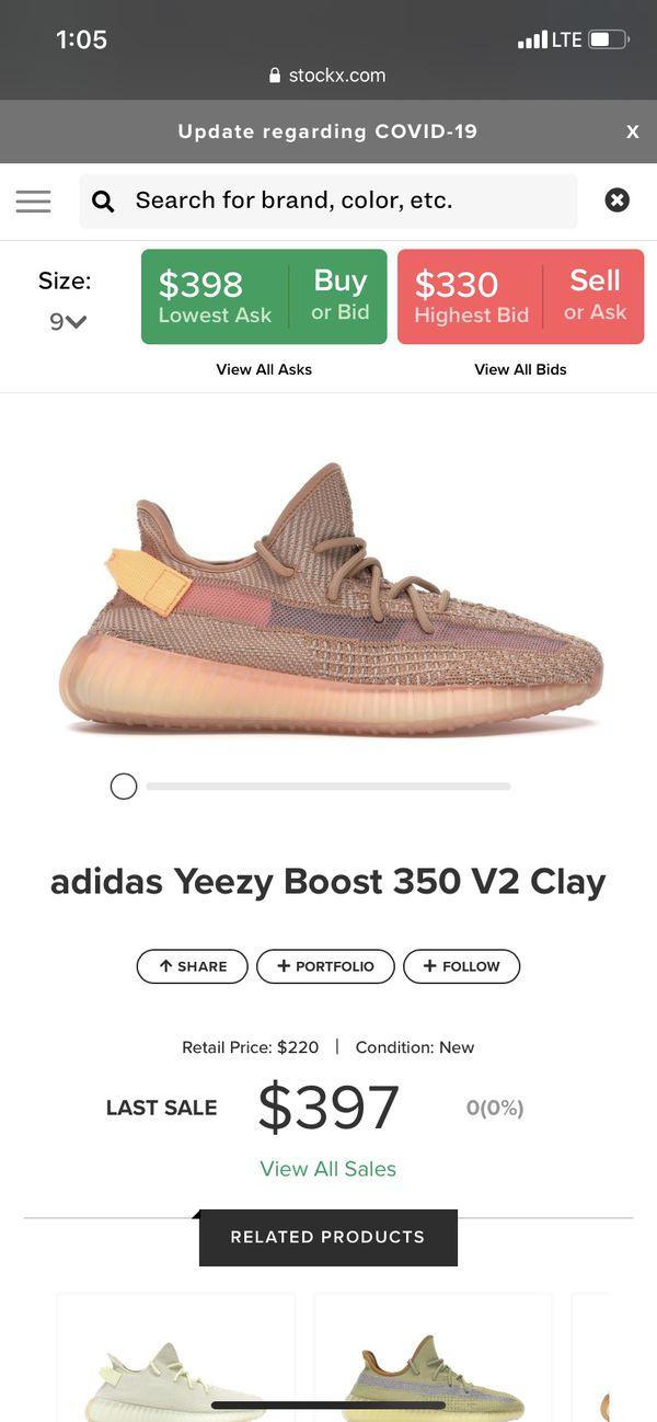 Adidas Yeezy Boost 350 Clays sz 9 DS