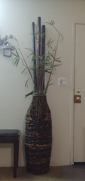 Wood Vase and Fake plant for Sale in El Cajon, CA