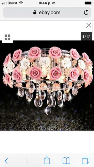 Elegant Pink Rose Ceramic Chandeliers Crystal Pendant Lamp Ceiling Light Fixture price firm $100 for Sale in Hayward, CA