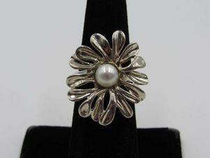 Size 6 Sterling Silver Pearl Israel Hagit Gorali Band Ring Vintage Statement Engagement Wedding Promise Anniversary Cocktail Friendship for Sale in Everett, WA
