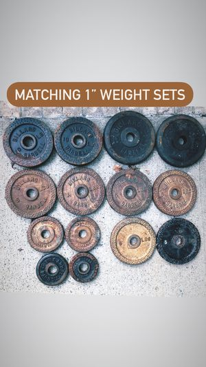 """Pairs of matching 1"""" weights (read description) and barbells curl bars and dumbbell handles dumbell clips for Sale in Upper Saddle River, NJ"""