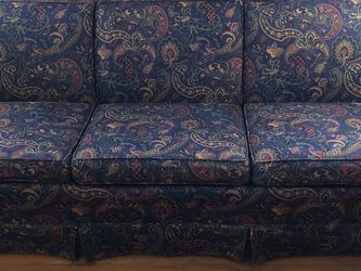 """Navy paisley Ethan Allen Sofa . 81"""" X 30"""" X 30"""". Small tear on front right skirt - See Photo. for Sale in Decatur,  GA"""