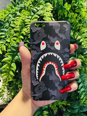 Brand new cool iphone 6+ PLUS case cover rubber silicone bape aape camo grey for Sale in San Bernardino, CA