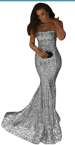 Silver sequin strapless prom dress for Sale in Gaithersburg, MD