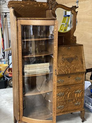 Antique oak secretary china / curio cabinet / mirror for Sale in Rivergrove, OR