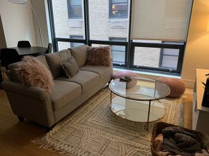 Overstock Handy Living Calhan Grey Textured Linen Couch for Sale in Boston, MA