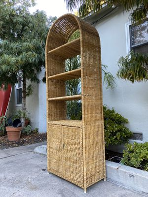 Boho Vintage Rattan Bamboo Wicker Shelf Etagere Shelving Unit Display Cabinet Shelves for Sale in San Diego, CA